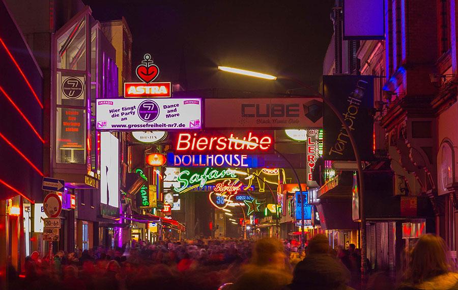 Hamburg Stadtführungen Reeperbahn Große Freiheit bei Nacht