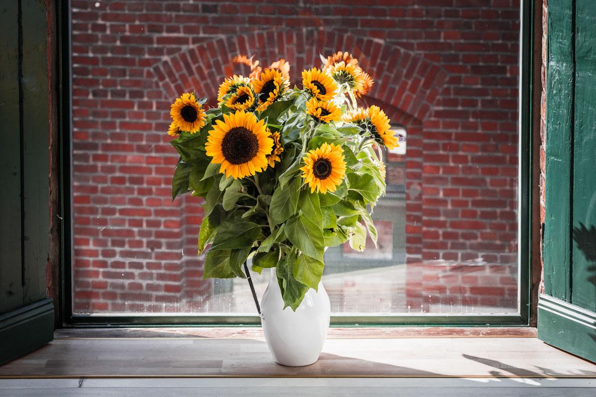 Stilleben Blumenvase Strauss Sonnenblumen